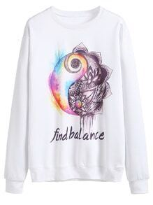 White Printed Long Sleeve Loose Sweatshirt