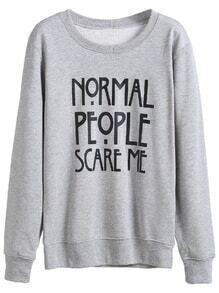 Grey Letter Printed Boyfriend Sweatshirt