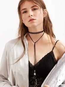 Black Multi Strand Random Tie Leaf Pendant Choker Necklace