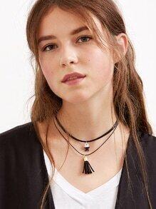 Black Double Layer Tassel Star Pendant Choker Necklace