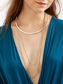 Layered Long Chain Round Collar Necklace