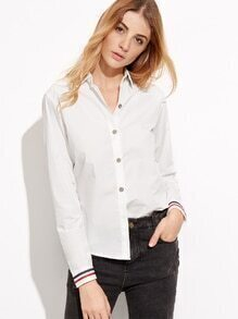 White Striped Tape Detail Button Shirt