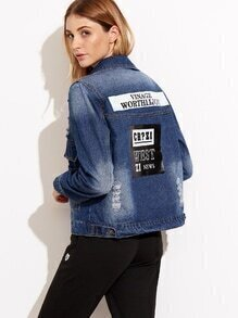 Blue Letter Print Back Ripped Denim Jacket