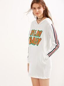 White Letter Print Striped Drawstring Hooded Sweatshirt Dress