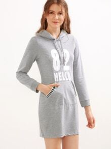 Grey Number Letter Print Drawstring Hooded Sweatshirt Dress