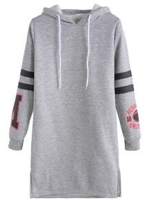 Grey Printed Varsity Striped Drawstring Hooded Sweatshirt Dress