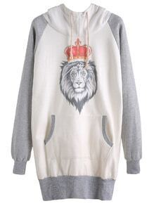 Color Block Lion Print Raglan Sleeve Hooded Sweatshirt Dress