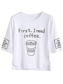 White Coffee Cup Slogan Print High Low T-shirt
