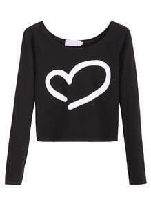 Black Heart Print Scoop Neck Crop T-shirt