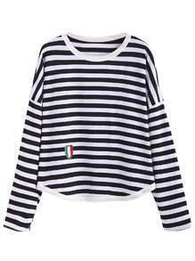 Black White Striped Dropped Shoulder Seam Embroidered Patch T-shirt