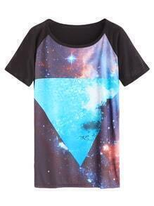 Color Block Galaxy Print Raglan Sleeve T-shirt