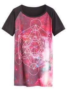 Color Block Galaxy Geo Print Raglan Sleeve T-shirt