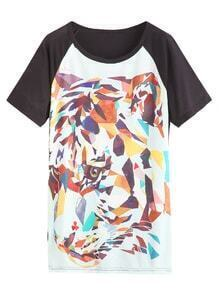 Color Block Abstract Leopard Print Raglan Sleeve T-shirt