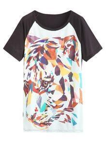 Color Block Abstract Leopard Print Raglan Sleeve T-shirt