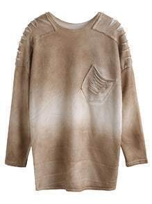 Drop Shoulder Bleached Cut Out Pockets T-shirt