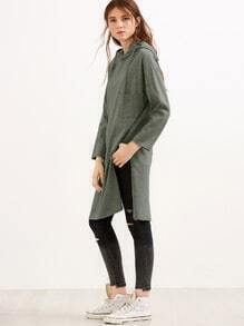 Green High Slit Drawstring Hooded Sweatshirt With Pocket