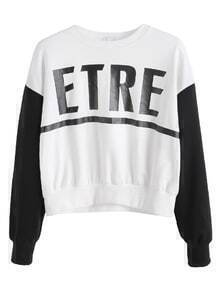 Contrast Letter Print Drop Shoulder Sweatshirt