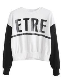 Contrast Letter Print Drop Shoulder Sweatshirt