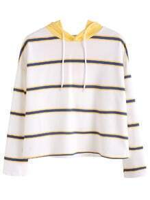 Striped Dropped Shoulder Seam Sweatshirt With Contrast Hood
