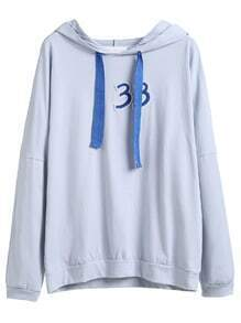 Blue Drop Shoulder Number Patch Drawstring Hooded Sweatshirt