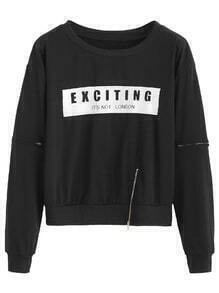 Black Letter Print Zip Detail Sweatshirt