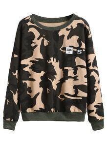 Camo Print Drop Shoulder Sweatshirt With Letters Print Patches