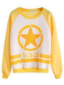 Yellow Star Print Raglan Sleeve Diamondback Sweatshirt