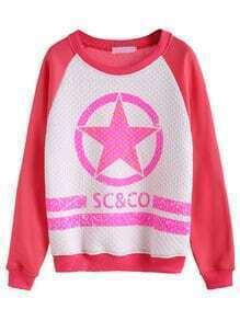 Watermelon Red Star Print Raglan Sleeve Diamondback Sweatshirt
