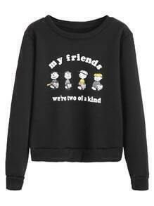 Black Cartoon Print Sweatshirt