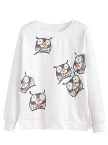 White Owls Print Dropped Shoulder Seam Sweatshirt