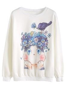 White Animal And Flower Print Sweatshirt