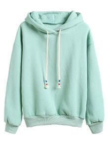 Pale Green Drop Shoulder Drawstring Hooded Sweatshirt