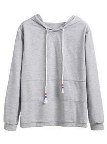 Heather Grey Drawstring Hooded Sweatshirt