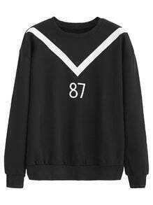 Black Contrast Number Print Sweatshirt