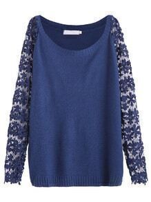 Blue Contrast Crochet Lace Sleeve Sweater