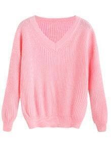 Pink V Neck Drop Shoulder Sweater