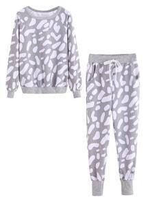 Light Grey Printed Sweatshirt With Tie Waist Pants