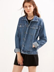 Blue Button Front Denim Jacket With Pockets