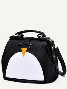 Black PU Penguin Design Contrast Shoulder Bag