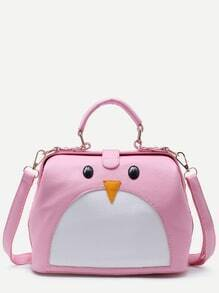 Pink PU Penguin Design Contrast Shoulder Bag