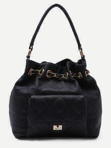 Black Faux Leather Quilted Bucket Bag