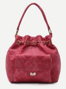 Red Faux Leather Quilted Bucket Bag