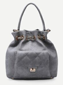 Grey Faux Leather Quilted Bucket Bag