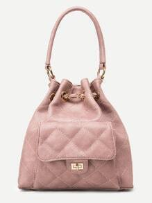 Pink Faux Leather Quilted Bucket Bag