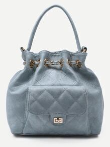Light Blue Faux Leather Quilted Bucket Bag