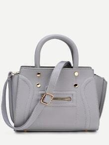 Grey Pebbled PU Front Zipper Tote Bag With Strap