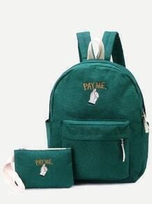Green Front Zipper Canvas Backpack With Clutch