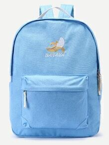 Blue Front Zipper Canvas Backpack With Clutch