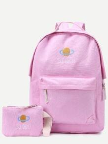 Pink Front Zipper Canvas Backpack With Clutch