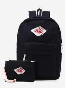 Black Front Zipper Canvas Backpack With Clutch